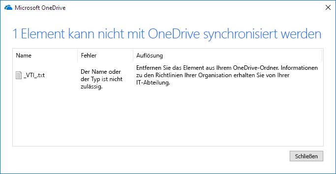 OneDrive kann nicht synchronisiert werden