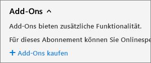 """Link """"Add-Ons kaufen"""" auf der Seite """"Abonnements"""" im Office 365 Admin Center"""