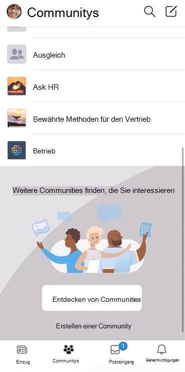 """Screenshot mit der Entdeckung von """"jammern""""-Communities in der mobilen App"""