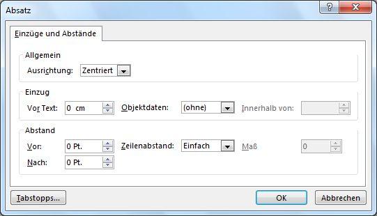 Dialogfeld 'Absatz' in PowerPoint