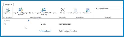 Ein Screenshot des Menübands in der BCS-Standardansicht 'Externe Inhaltstypen'.