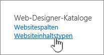 Auswählen der Websiteinhaltstypen