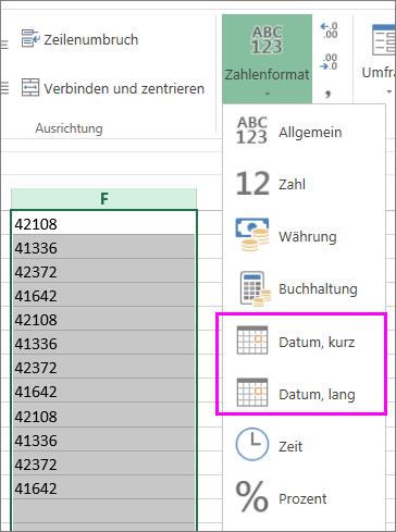 Spalte mit Datumsangaben im Textformat