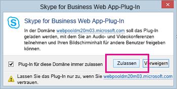 Vertrauen Sie der Domäne des Skype for Business Web-Plug-Ins