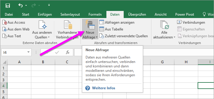 Neue Abfrage in Excel 2016