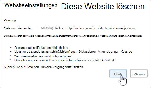 Klicken Sie auf löschen, wenn Sie sicher sind, dass Sie die Unterwebsite löschen möchten.