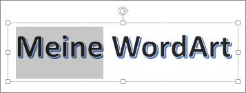 WordArt-Text, von dem einige Buchstaben markiert sind