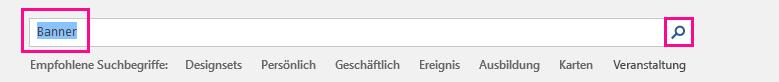 """Suchen Sie auf der ersten Vorlagenseite nach """"Banner""""."""