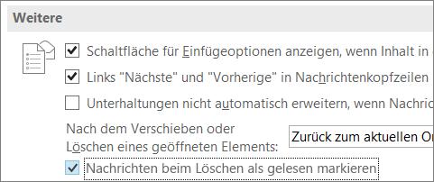 """Kontrollkästchen """"Beim Löschen Nachrichten als gelesen markieren"""" im Outlook-Dialogfeld """"Optionen"""""""