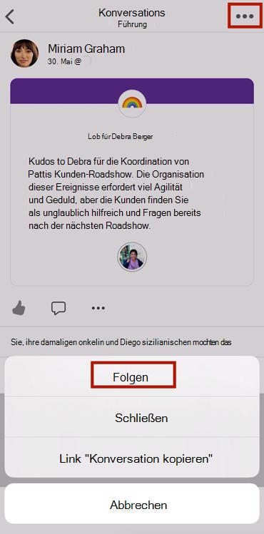 """Screenshot, der im Anschluss an eine Unterhaltung in der mobilen App """"neues jammern"""" zeigt"""