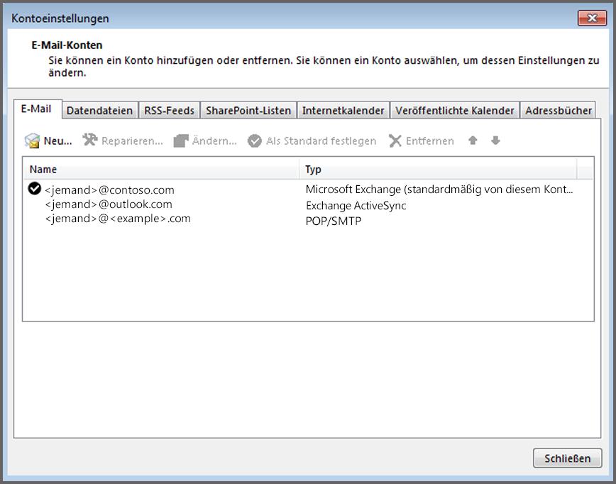 """Anzeigen des vorhandenen Kontotyps im Outlook-Fenster """"Kontoeinstellungen"""""""