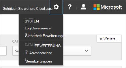 Wählen Sie in Office 365-Cloud-App-Sicherheit Einstellungen die Einstellungen für System und Daten zugreifen.