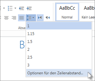 "Menü ""Zeilenabstand"" in Word Web App"