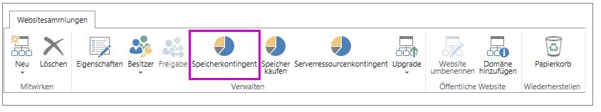 """Registerkarte """"Websitesammlungen"""" mit aktivierter Schaltfläche """"Speicherkontingent"""""""