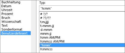 Formatieren Sie Zellen-Dialogfeld, Befehl Benutzerdefiniert, h: mm Typ