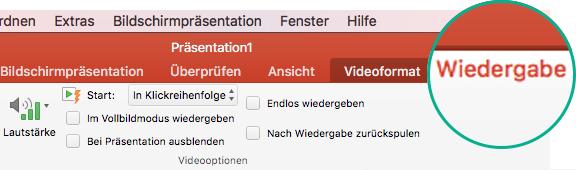 """Wenn ein Video auf einer Folie ausgewählt ist, wird im Menüband die Registerkarte """"Wiedergabe"""" angezeigt, auf der Sie Optionen für die Videowiedergabe festlegen können."""