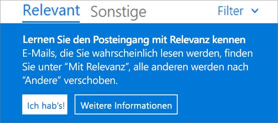 Die Abbildung zeigt, wie der Posteingang mit Relevanz aussieht, wenn ein Benutzer Outlook im Web zum ersten Mal öffnet.
