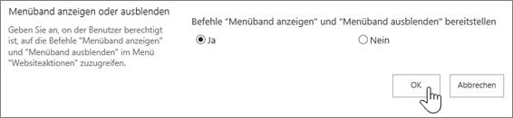 """Menübandoption """"Ein- /Ausblenden"""", """"OK"""" ausgewählt"""