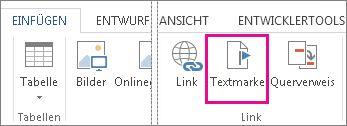 Einfügen einer Textmarke