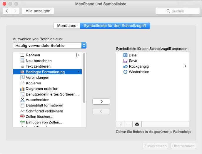 Office 2016 für Mac – Symbolleiste für den Schnellzugriff anpassen