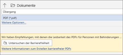 """Dialogfeld """"als PDF speichern"""" mit gelbem Mitteilungsfeld, das Sie zum Überprüfen der Barrierefreiheit Ihrer PDF-Datei vor dem Speichern auffordert"""