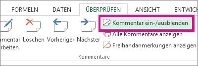 Klicken Sie auf der Registerkarte 'Überprüfen' auf 'Kommentar ein-/ausblenden'