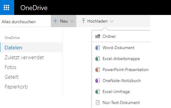 Screenshot zum Erstellen eines Dokuments von OneDrive.com