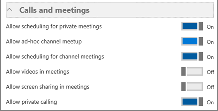 """Screenshot des Abschnitts """"Anrufe und Besprechungen"""" auf der Seite mit den Einstellungen für Microsoft Teams. Hier können Sie Einstellungen deaktivieren bzw. aktivieren, um das Planen von privaten Besprechungen und Kanalbesprechungen sowie Video- und Bildschirmübertragung in Besprechungen zu verhindern oder zuzulassen."""