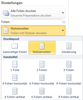 Das Notizenlayout