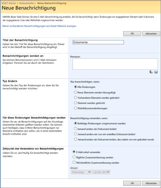 SharePoint 2007-Seite mit Benachrichtigungsoptionen