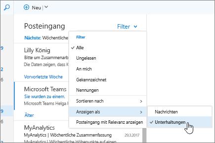 """Screenshot des Posteingangs, """"Filter"""" > """"Anzeigen als"""" > """"Unterhaltungen"""" ausgewählt"""