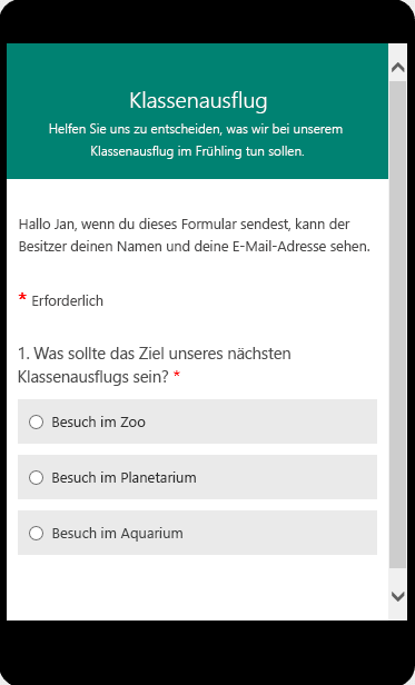 Vorschaumodus für die Anzeige eines Kursumfrageformulars auf einem mobilen Gerät.