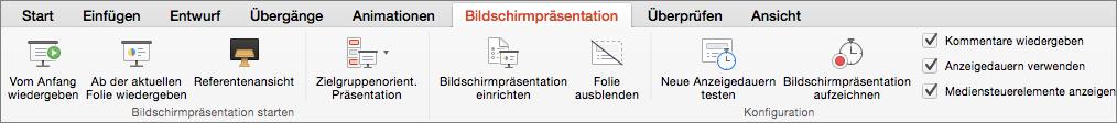 """Registerkarte """"Bildschirmpräsentation"""""""