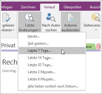 """Screenshot der Schaltfläche """"Letzte Änderungen"""" in OneNote 2016"""