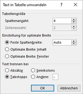"""Das Dialogfeld """"Text in Tabelle umwandeln"""" wird angezeigt."""