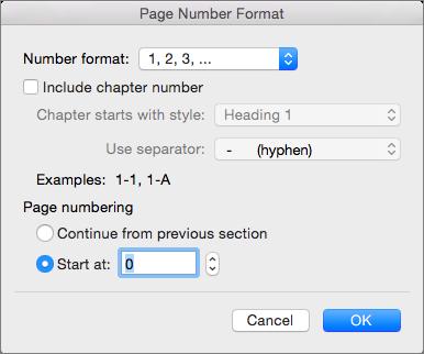 """Wählen Sie das Nummerierungsformat und die Anfangszahl in """"Seitenzahlenformat"""" aus."""