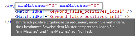 """XML-Markup mit dem """"maxÜbereinstimmungen""""-Attributwert """"0"""" (null)"""
