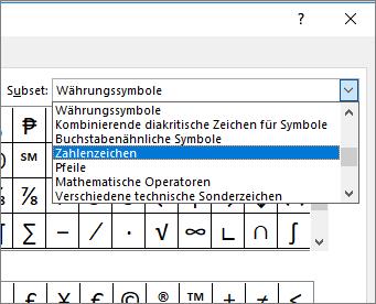 """Wählen Sie im Dialogfeld """"Subset"""" den Eintrag """"Zahlenformen"""" aus, um Brüche und andere mathematische Symbole anzuzeigen."""