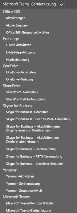 Bericht auswählen – Microsoft Teams-Benutzeraktivität.