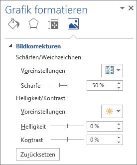 """Optionen für Bildkorrekturen im Aufgabenbereich """"Bild formatieren"""""""