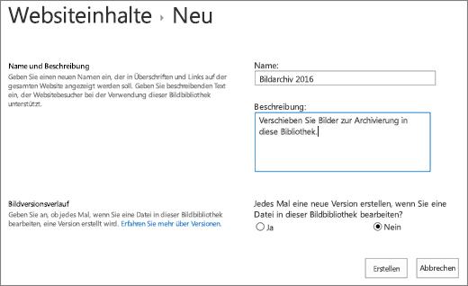 Eingeben von Name, Beschreibung und optionaler Versionsverwaltung