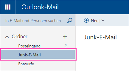 "Screenshot des Ordners ""Junk-E-Mail"""
