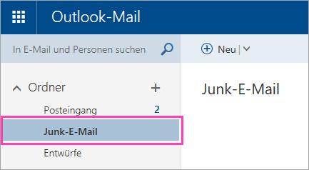 """Screenshot des Ordners """"Junk-E-Mail"""""""