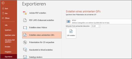 """Datei > Seite """"Exportieren"""" mit hervorgehobener Option """"Animiertes GIF erstellen"""""""