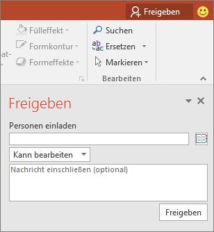 """Abbildung des Dialogfeldbereichs """"Teilen"""" in PowerPoint"""
