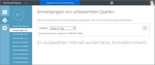 """Screenshot der Seite für den Bericht """"Anmeldungen von unbekannten Quellen"""", der im Azure-Verwaltungsportal auf der Registerkarte """"Active Directory"""", Seite """"Berichte"""", verfügbar ist."""