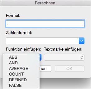 """Wählen Sie im Feld """"Formel"""" die gewünschte Funktion in der Liste """"Funktion einfügen"""" aus."""