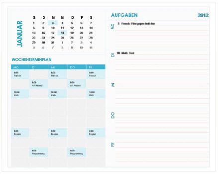 Kalendervorlage für Wochenplanungen von Studenten (Excel)