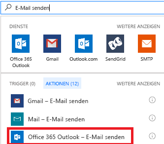 Screenshot: Auswählen einer Aktion: Office 365 Outlook – E-Mail senden