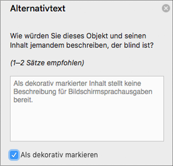 """Aktiviertes Kontrollkästchen """"Als dekorativ markieren"""" im Bereich """"Alternativtext"""" in Word für Mac"""
